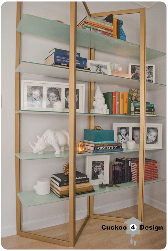 brass bookshelf makeover