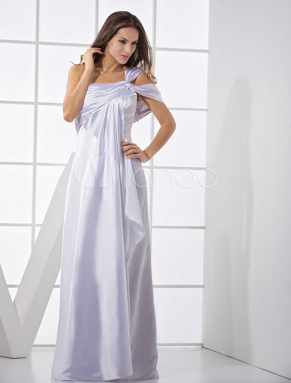 China Wholesale Dresses - Particular Ivory Elastic Woven Satin One Shoulder Prom Dress