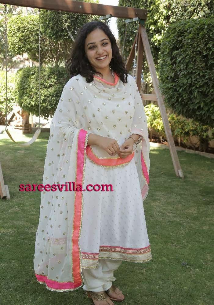 Nithya Menen in White Salwar