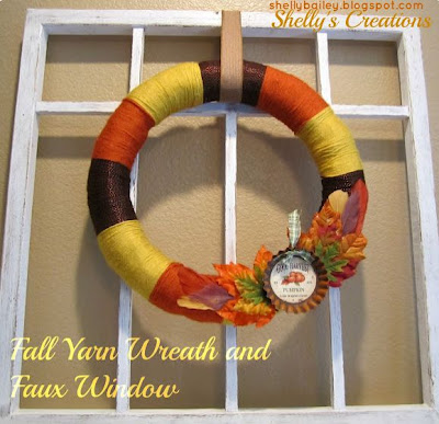 Fall Yarn Wreath and Faux Window