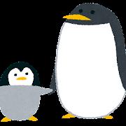 ペンギンの親子のイラスト(動物)