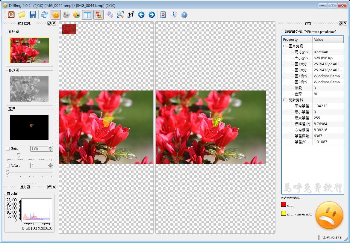 好用的圖片、照片比對軟體推薦:DiffImg Portable 免安裝中文版下載,免費相片比對軟體