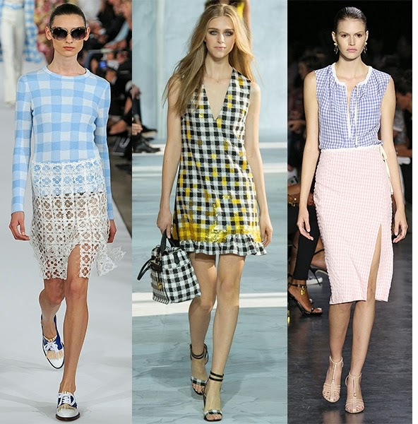 Gingham trend, SS25 trends, SS15 fashion trends, Diane Von Furstenburg SS15, Burberry SS15