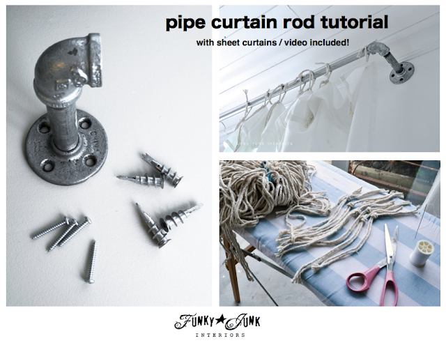 How to make pipe curtain rods with sheet curtains. Plus learn how to use a pipe cutter with video! via FunkyJunkInteriors.net