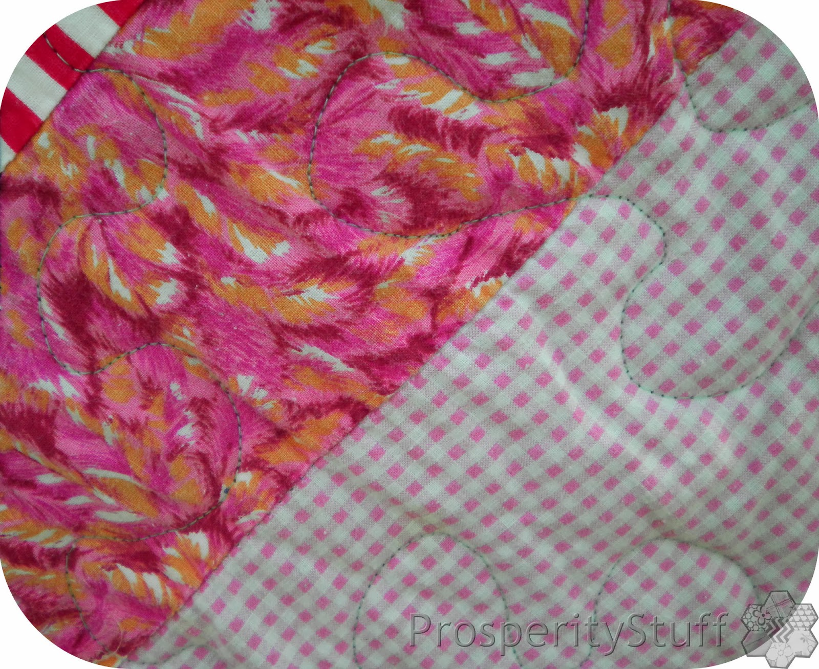 Quilting and fabric detail on vintage quilt