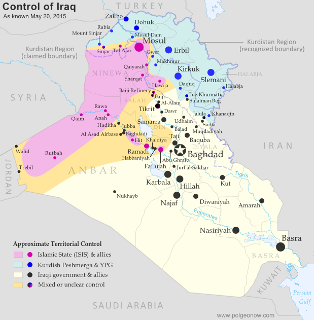 Detailed map of territorial control in Iraq as of May 20, 2015, including territory held by the Islamic State (ISIS, ISIL), the Baghdad government, and the Kurdistan Peshmerga. Includes recent flashpoints including Ramadi, Tikrit, Habbaniyah, Khaldiya, Sinjar, and others, as well as the recently created province of Halabja in Iraqi Kurdistan.
