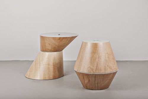 4 Cones: Wood modular benches and Tables by Nuno Capa