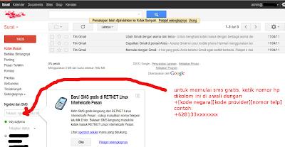 cara SMS gratis dari email google