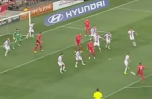 Adelaide United player Iain Ramsay shoots to score against Perth Glory