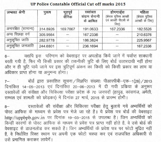 UP Police Medical Cut off marks