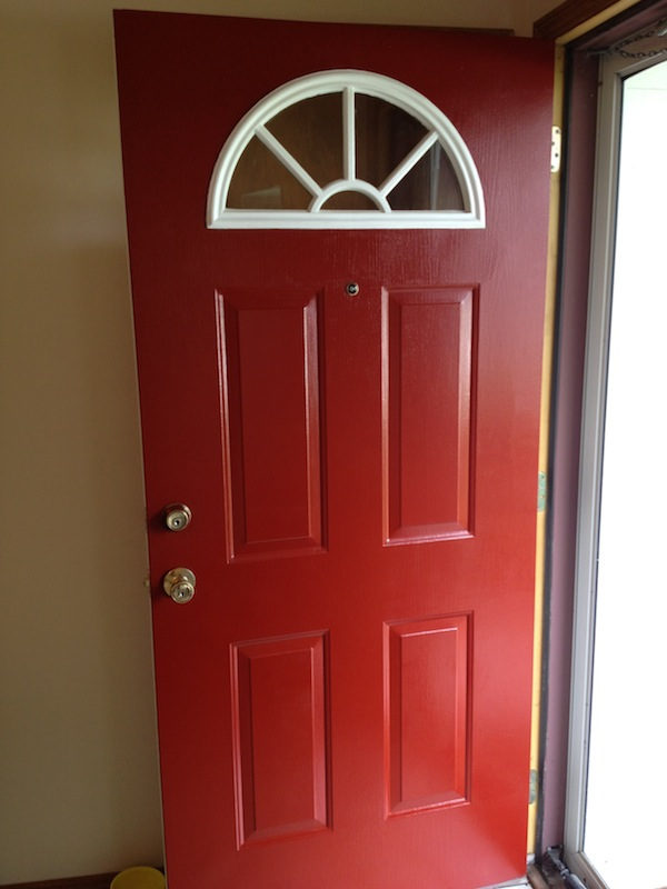 Handy in ks painting the front door red for Exterior door paint