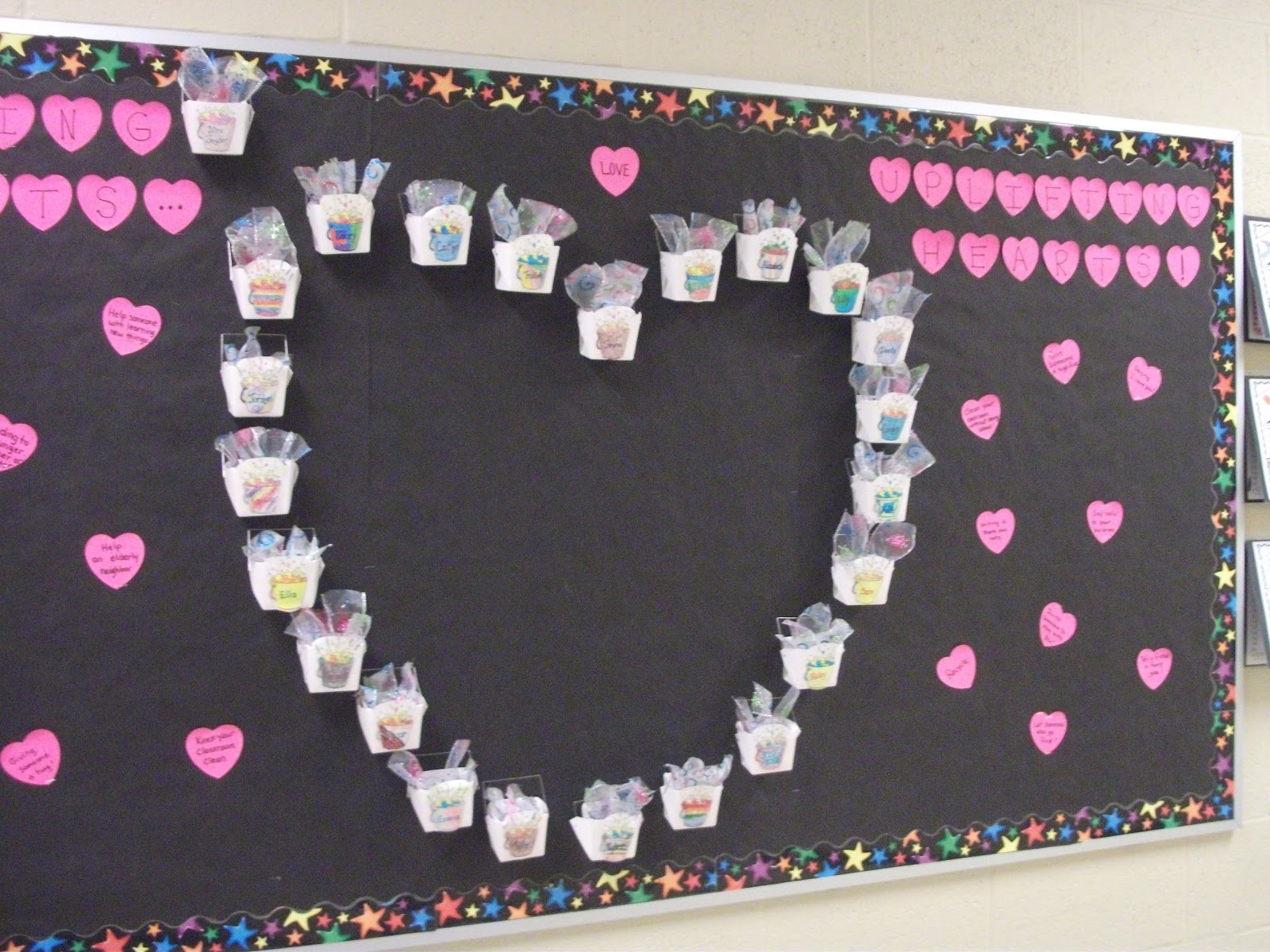 The balanced classroom fill your bucket with good character for Heart shaped bulletin board