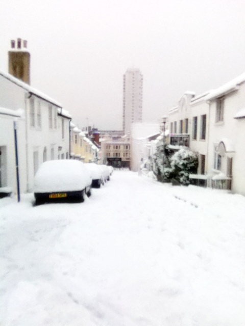 White-out during snowfall, in winter season, Brighton, UK