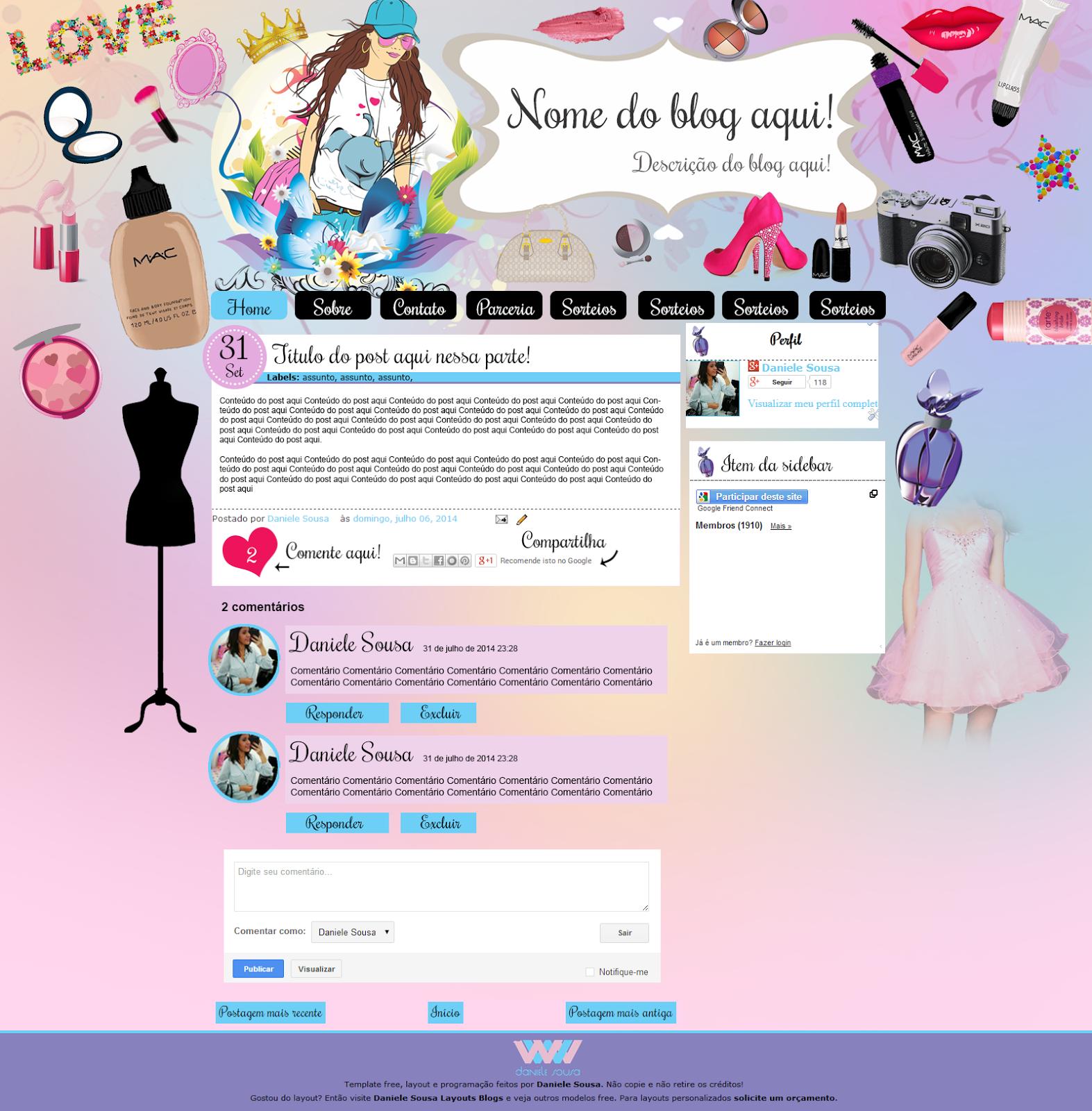 Lindo layout para blogspot free! Perfil Vaidosa