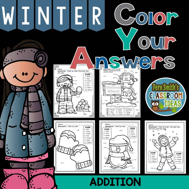 Fern Smith's Classroom Ideas  Winter Math: Winter Fun! Basic Addition Facts - Color Your Answers Printables at TeacherspayTeachers. #TpT