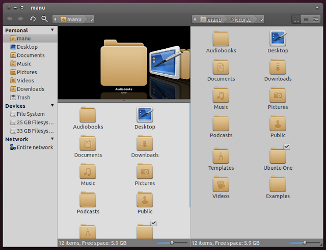 nautilus-elementary, equinox evolution, Ubuntu 11.04