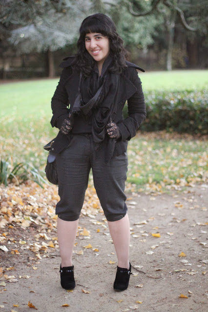 Cropped Trousers and Black Peacoat