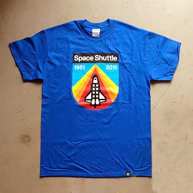 """Space Shuttle Tribute"" T-Shirt by Draplin Design Co. - ""Blue Sky Re-Entry"" Blue"