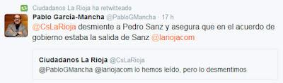 Ciudadanos demiente a Pedro Sanz