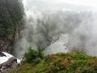 Mist rising from Snoqualmie Falls - Intimate wedding officiated by Patricia Stimac, Seattle Elope