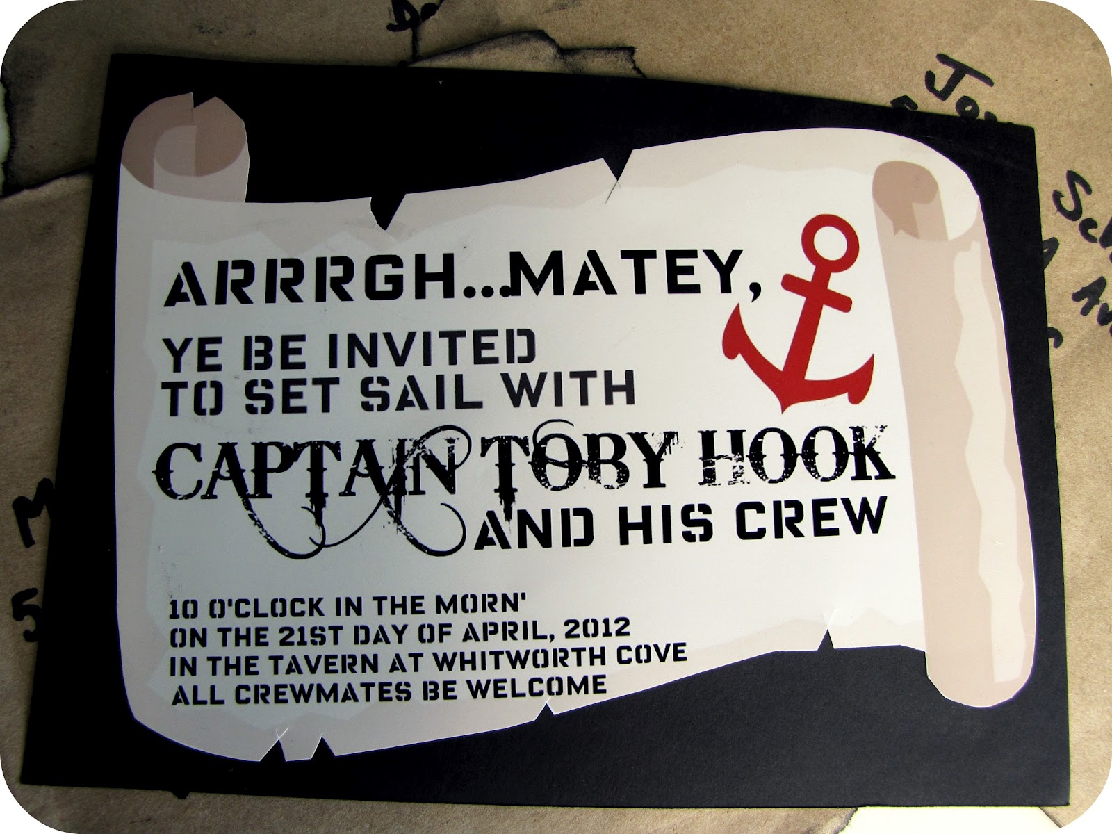 My House of Giggles Captain HookPirate Party Invitations – Pirate Party Invites