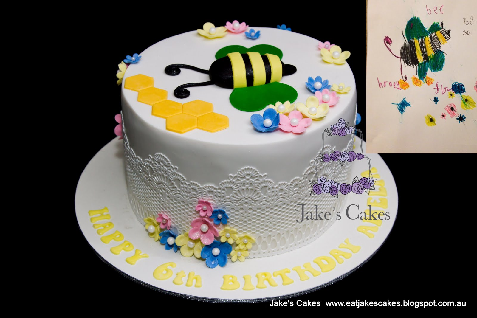 Amelias Bee Cake This Little Girl Drew A Beautiful Picture Of What She Would Like Her 6th Birthday To Be Is The Jakes Cakes Sugar Version