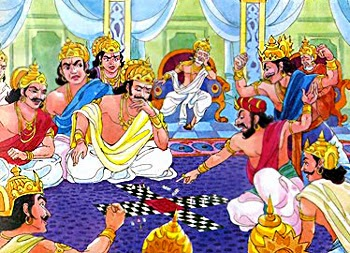Pandavas defeated from Kaurvas in dice game