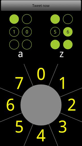 """Descrição da imagem: tela fundo preto: na parte superior, em inglês escrito """"tweet  agora"""". Logo abaixo,, duas células em braile amarela representando as letra A e Z. Abaixo delas um círculo cinza, ao redor do círculo números que começam do zero e vão até o sete. São esses números que preenchem os pontos das células brailes quando deslizamos o dedo sobre eles."""