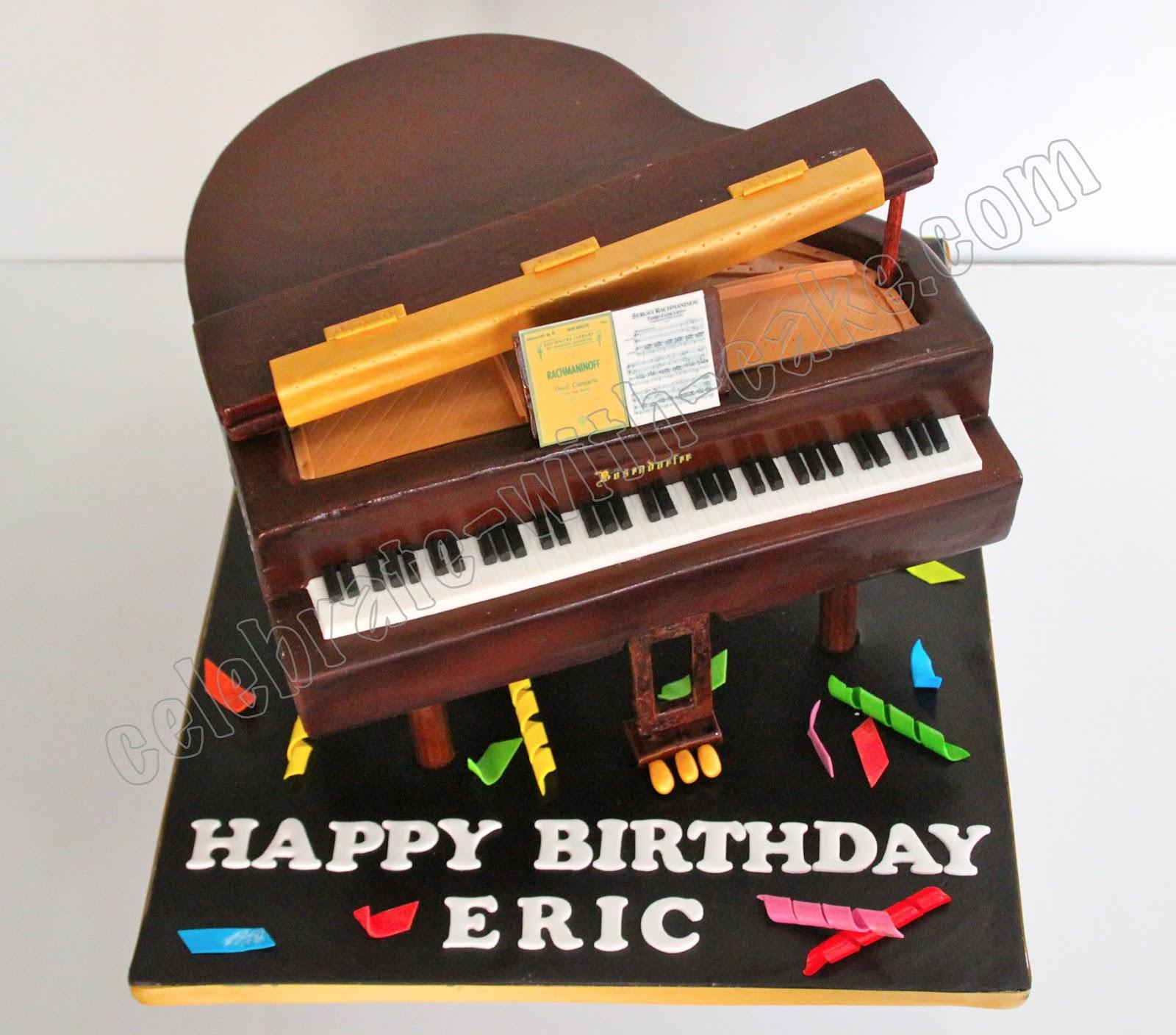 Celebrate With Cake Brown Grand Piano Cake