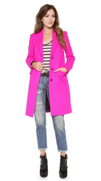 Neon pink cashmere-blend Epsom coat, by Paul Smith Black Label at Shopbop