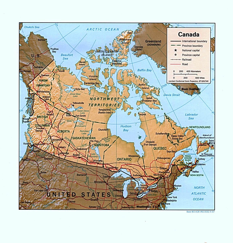 mappa di canada politica immagini