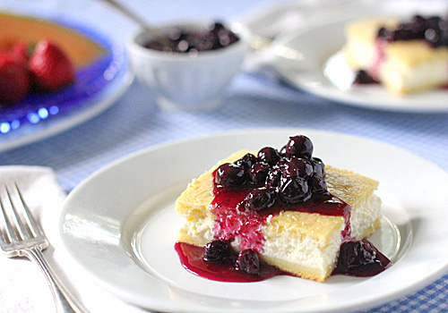 The Galley Gourmet: Baked Cheese Blintzes with Fresh Blueberry Sauce