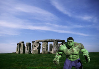 Desktop Wallpaper of The Incredible Hulk Fighting Monster at Stonehenge Stone Monument wallpaper