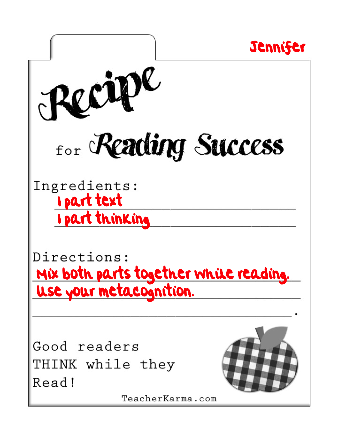 worksheet Reading A Recipe Worksheet classroom freebies too secret recipe for reading success included