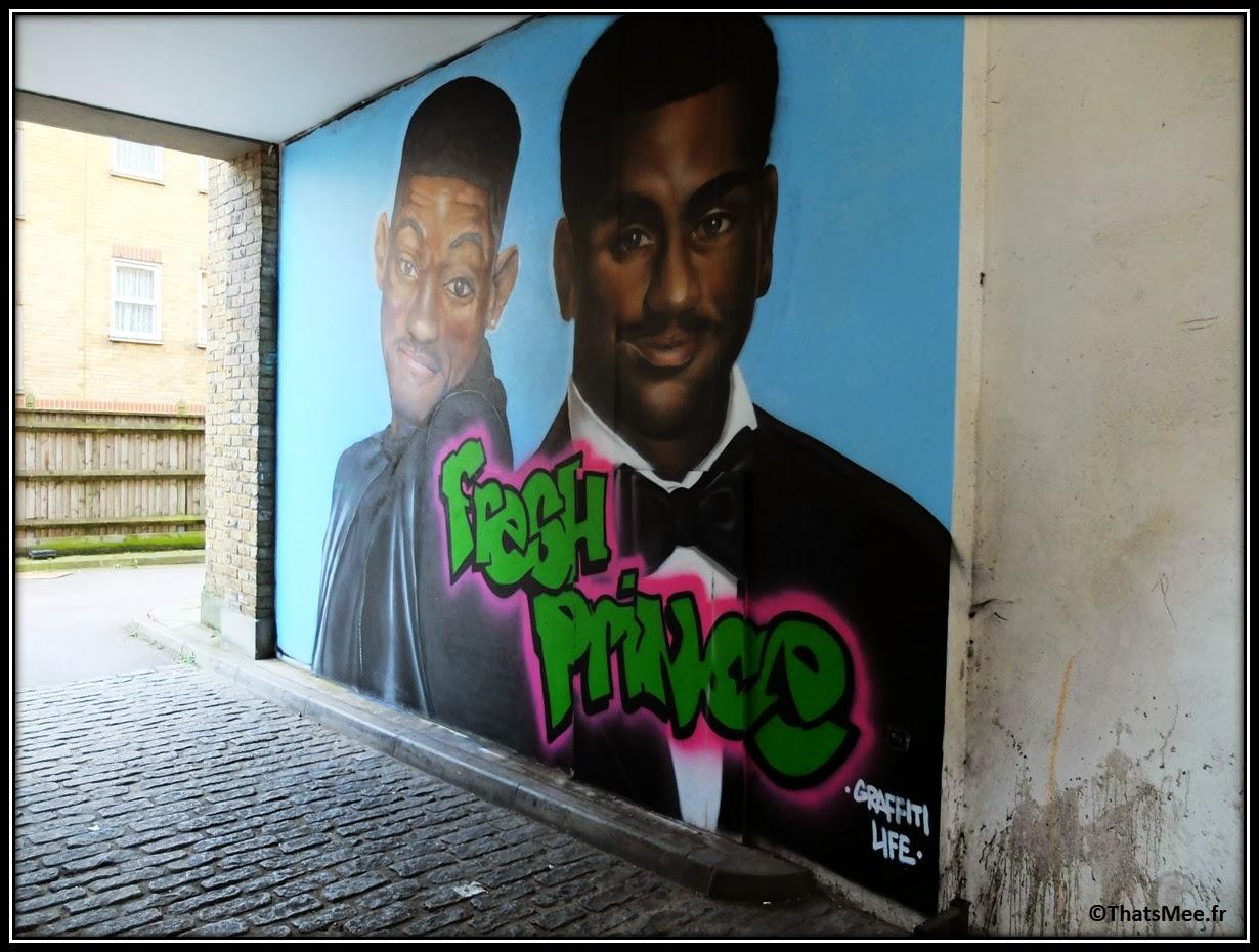Street Art Londres Shoredicth East London Brick Lane Prince de Bel Air Will smith Carlton Banks Fresh prince