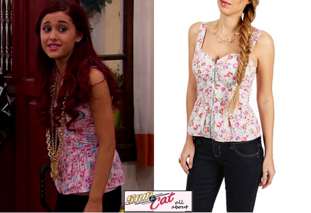 Cat Valentine (Ariana Grande) Wears This Pink Floral Peplum Corset.  Unfortunately It Is Sold Out In Pink.