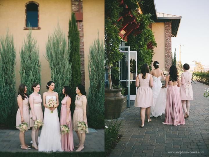 """pale pink bridesmaids dresses"""