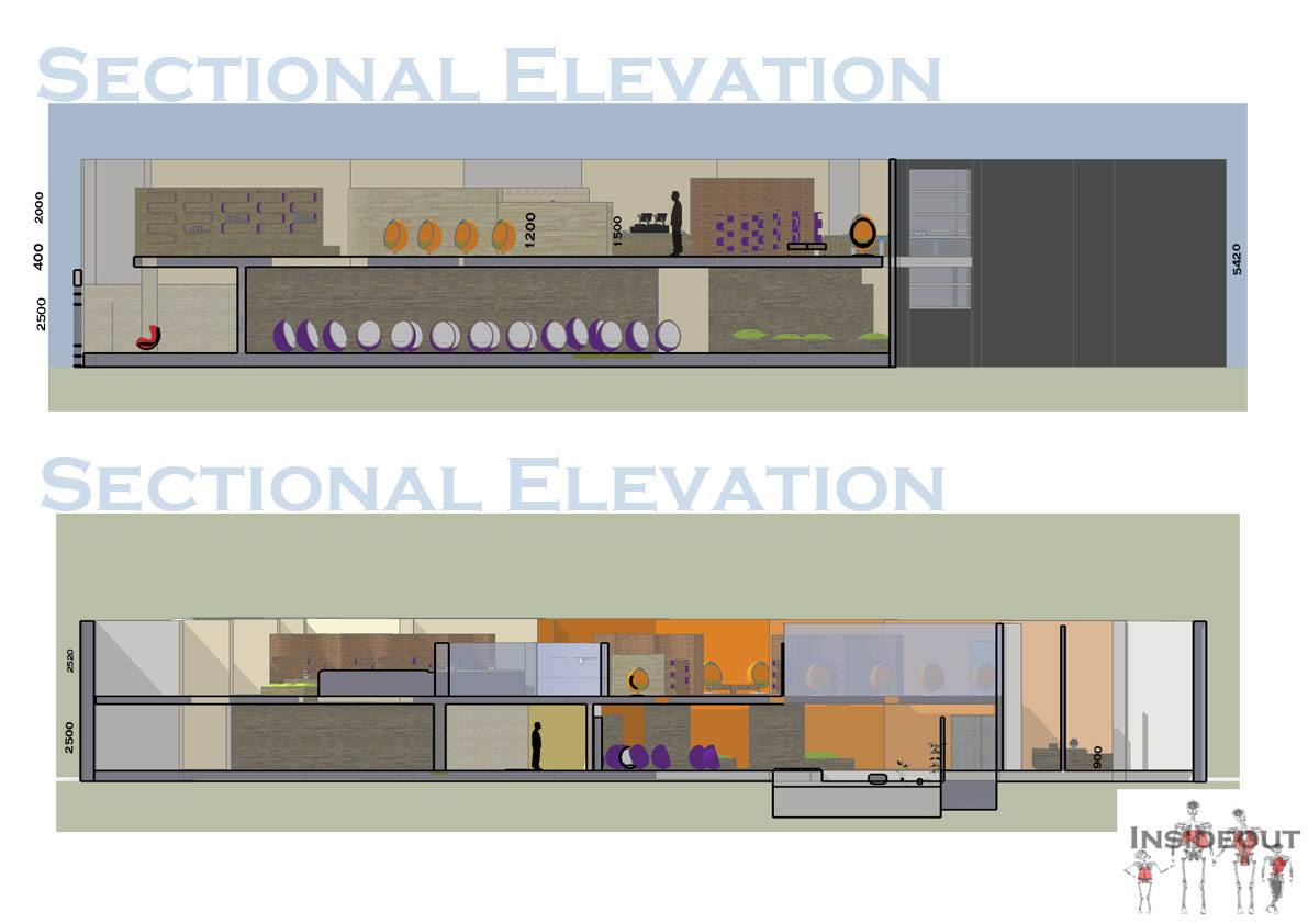 Sectional elevations reflection center