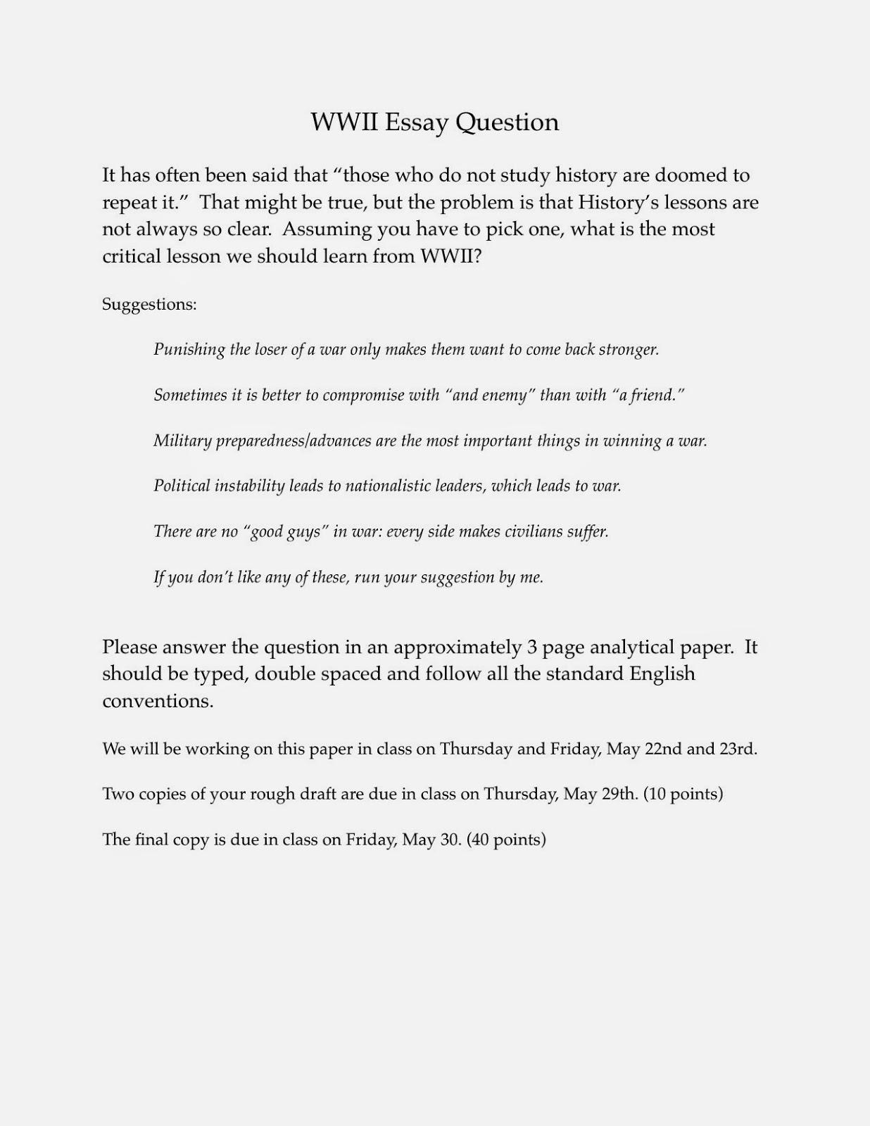 Modern Classroom Paragraph : Ms murphy s modern european history class wwii essay and