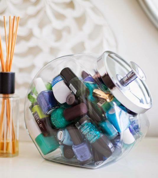 Organizador De Baño Manualidades:Tarro de caramelos para tus pintauñas