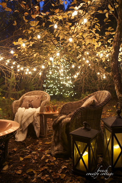Christmas in the orchard with a fire pit
