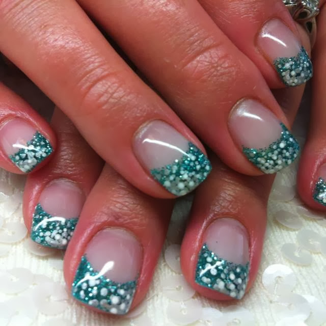 gel extensions with custom glitz mix and silver white dotting acrylic nail art design polish paint