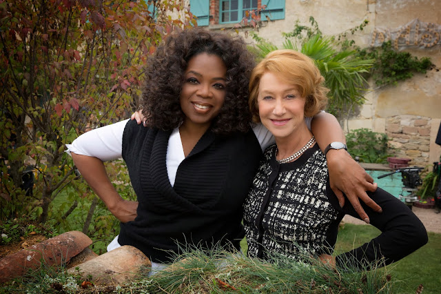 "Oprah Winfrey and Helen Mirren from the set of ""The Hundred-Foot Journey. ©DreamWorks Studios"