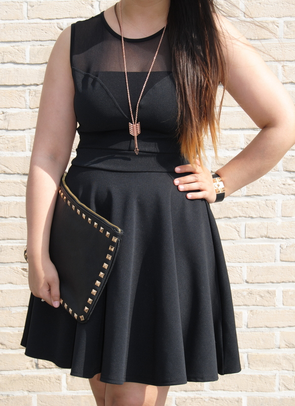 I Am A Fashioneer Skater Dress Gold Accessories