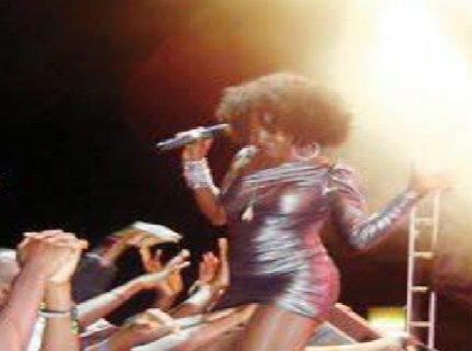 female singer fingered on stage while performing at concert