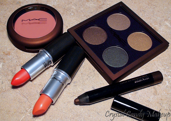 MAC Temperature Rising - Bare My Soul quad - Ripe For Love blush - Neon Orange lipstick - Sounds Like Noise lipstick - Life's Luxury Powerchrome pencil
