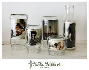 Decoração casamento com vidros e fotos