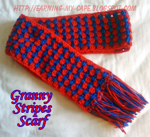 Free Crochet Pattern Striped Scarf : Earning-My-Cape: Granny Stripes Scarf {free crochet pattern}