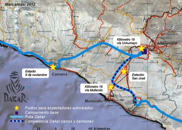 Mapa de AREQUIPA con la ruta del DAKAR 2012