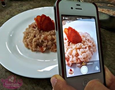 Risoto de morangos com espumante